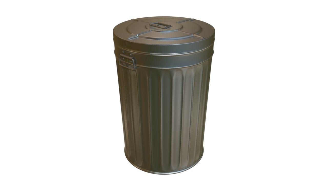 3d metal trash model