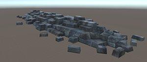 stone barricade streets 3d obj