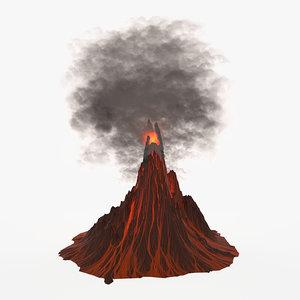 3d volcano active model