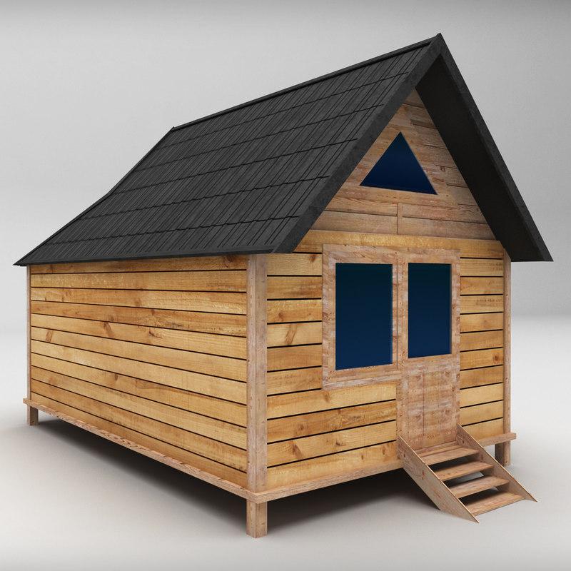 medium wooden house 3d model