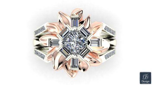 flower diamond ring 3d model