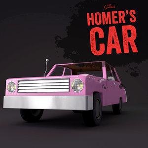homer simpson car 3d c4d