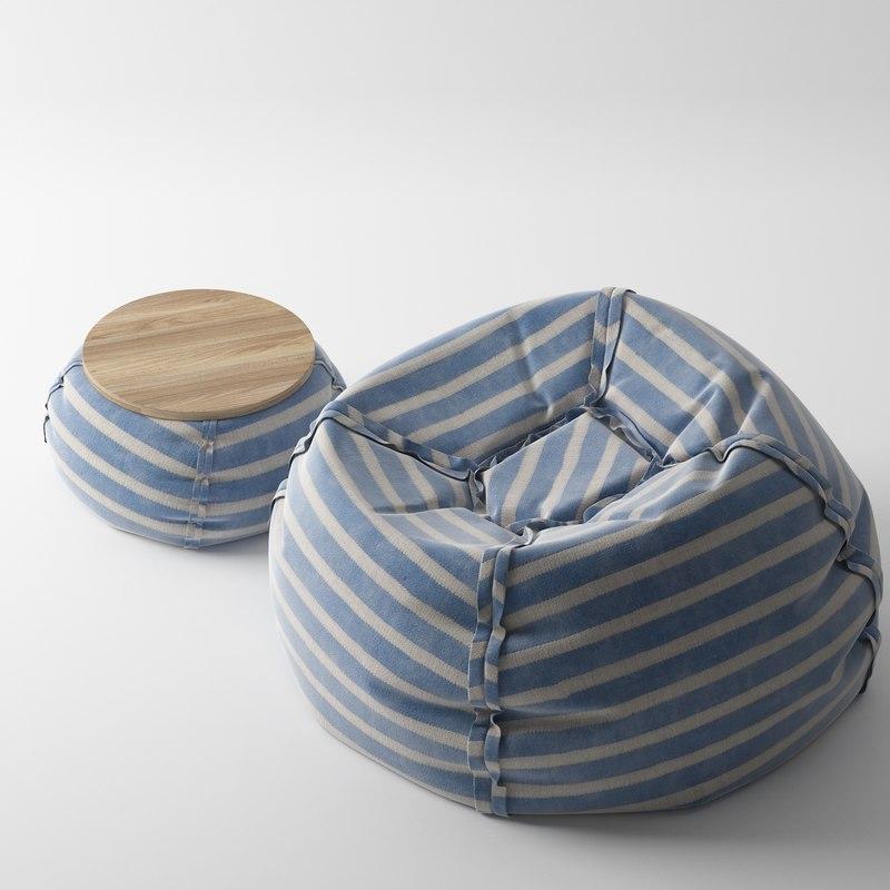 pouf beanbag table 3d model