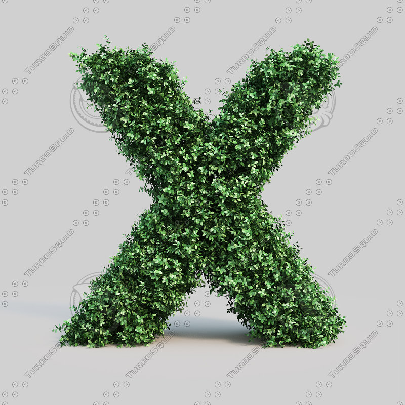 3d model of alphabet x buxus