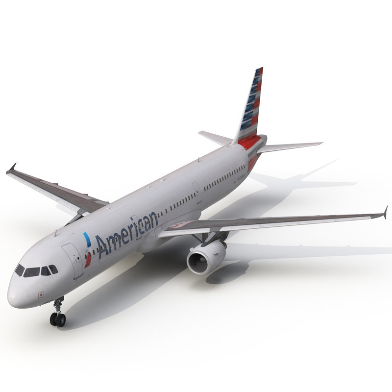 3d model airbus a321 american airlines