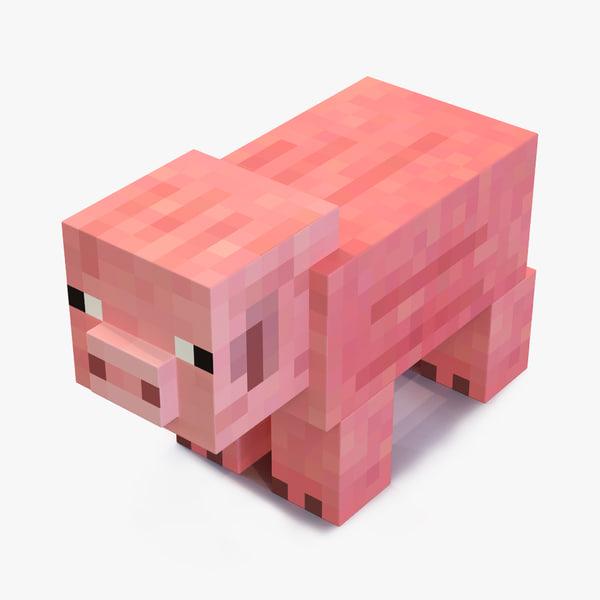 minecraft pig 3d model