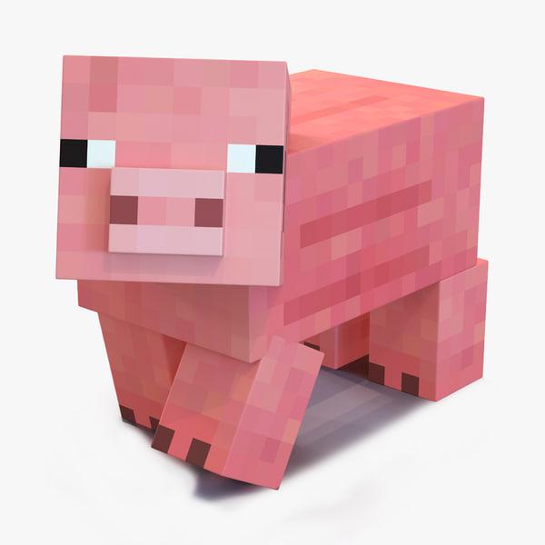 3d minecraft pig rigged