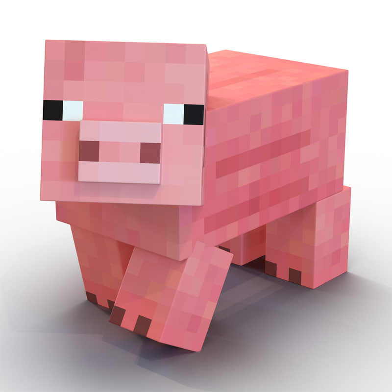 моб свинья в 3д в майнкрафте #1