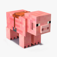 3d minecraft pig saddle