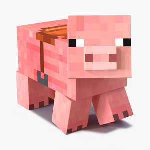minecraft pig saddle rigged 3d max