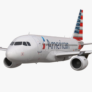 airbus a318 american airlines 3d max