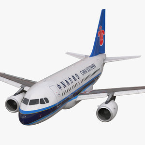 airbus a318 china southern 3d model