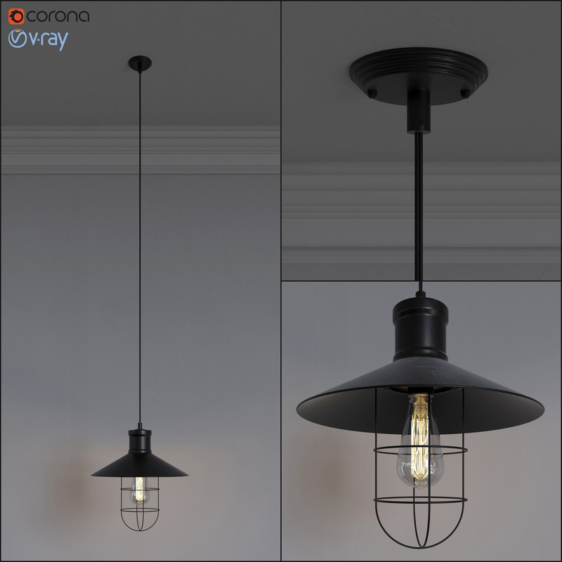 3d model retro lamp loft design