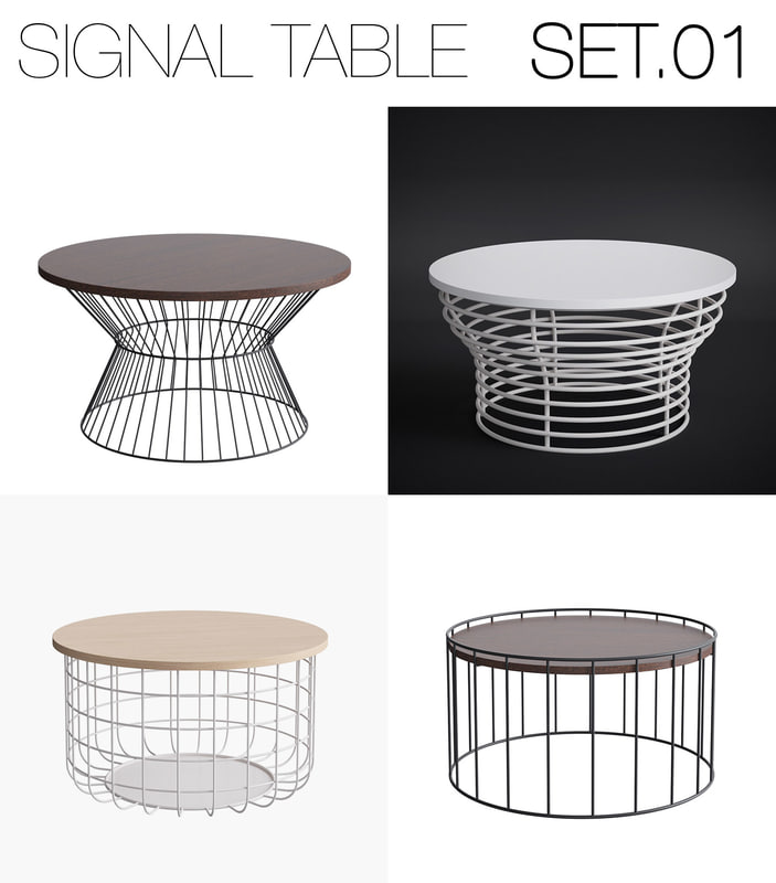 3d model signal table set 01