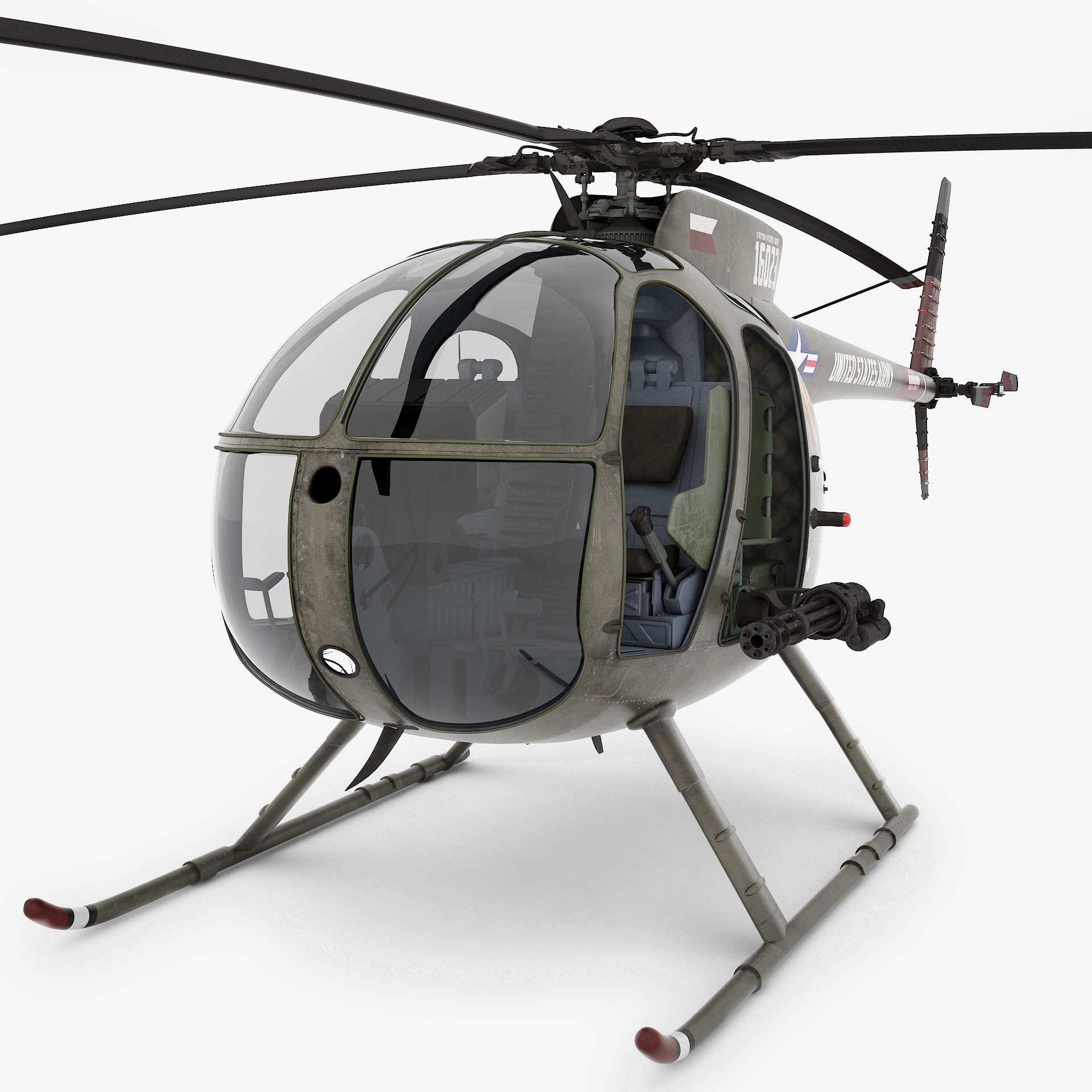 3d model of hughes oh-6 cayuse helicopter