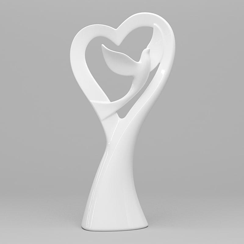 3d model dove heart figurine