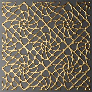 3d model of panel lattice grille
