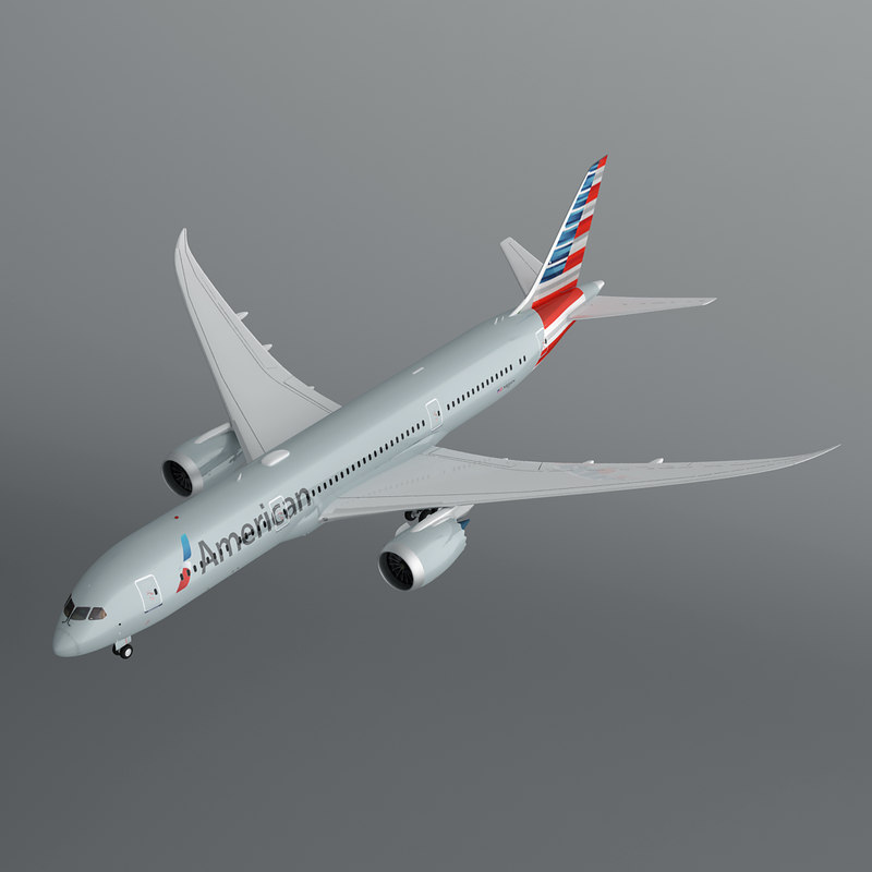 american airlines 787-9 dreamliner 3d model