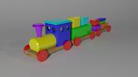 3d wooden train model