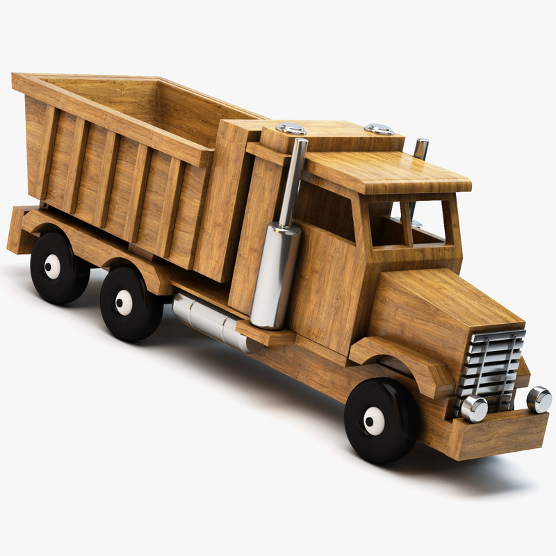 wooden toy truck wood 3d c4d