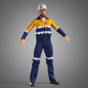 engineer worker 3d max