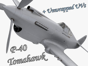p 40 warhawk fighter 3d model