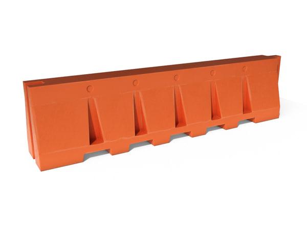 plastic barricade modeled 3d 3ds