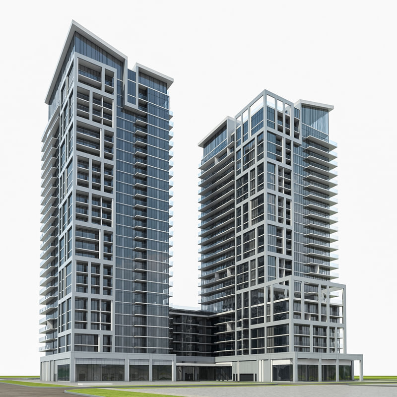 High rise residential building exterior 3d model for Modern high rise building design
