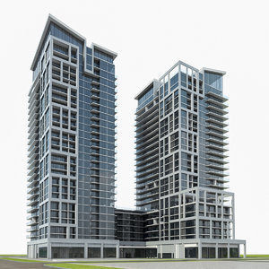 high-rise residential building exterior 3d model