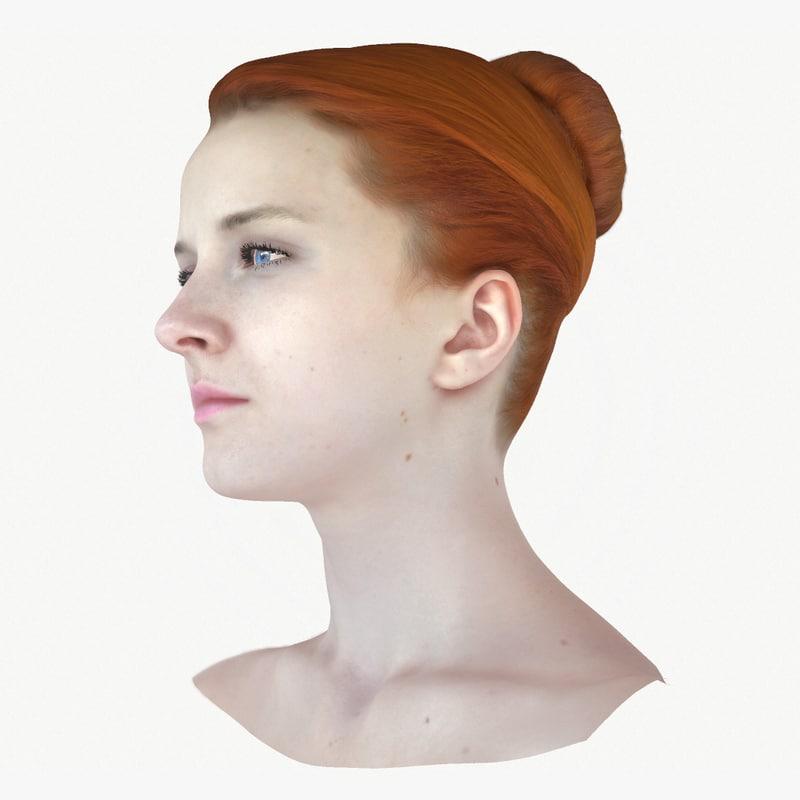 3d realistic female head olga model