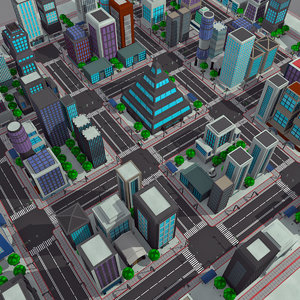 3d model - modern cartoon city