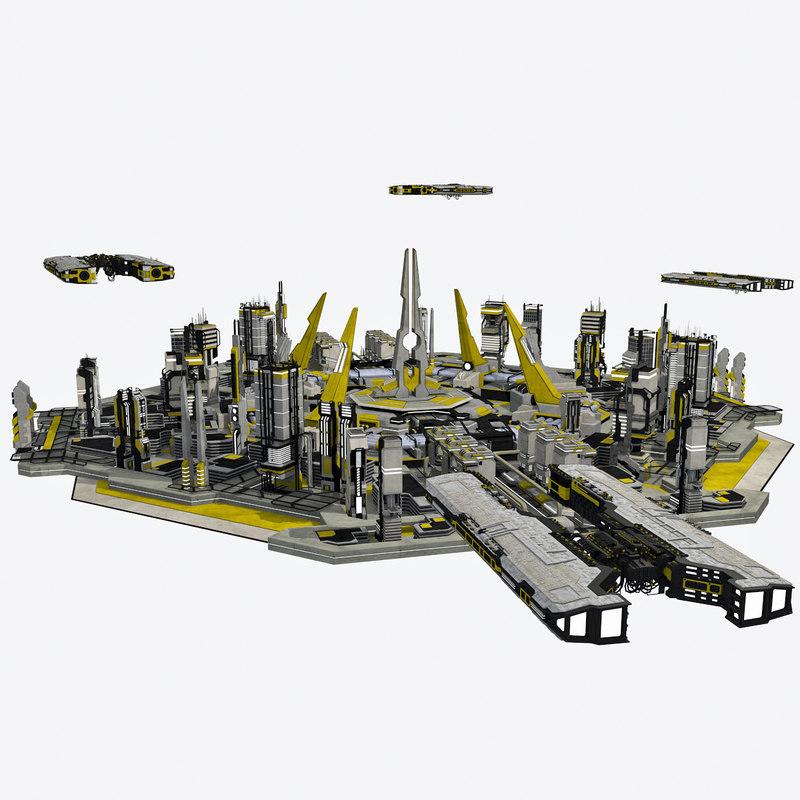 3d model of - sci-fi cityscape 2