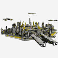 3d model of - sci-fi cityscape 2