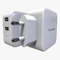 3d model outlet usb charger