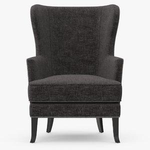 3d model jordan fabric wing chair