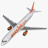 Airbus A321 EasyJet Rigged 3D Model