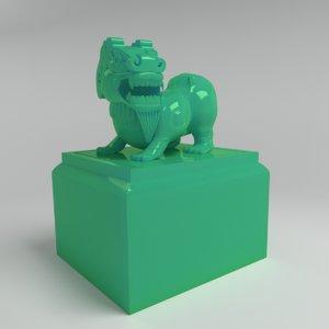 3d lion jade model