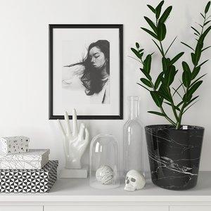 decorative set black white max