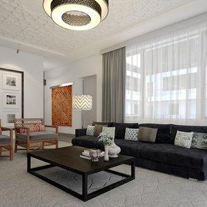 scene modern hotel suite 3d model