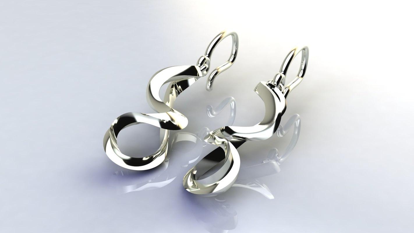3d turns life earrings model