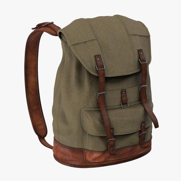 3d model standing travel backpack