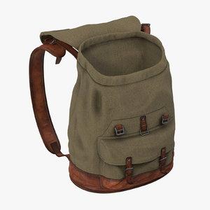 standing open travel backpack 3d model