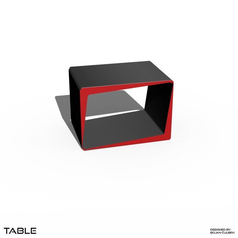 3d minimalistic cube table