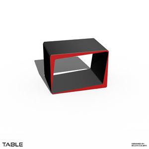 3d minimalistic cube table