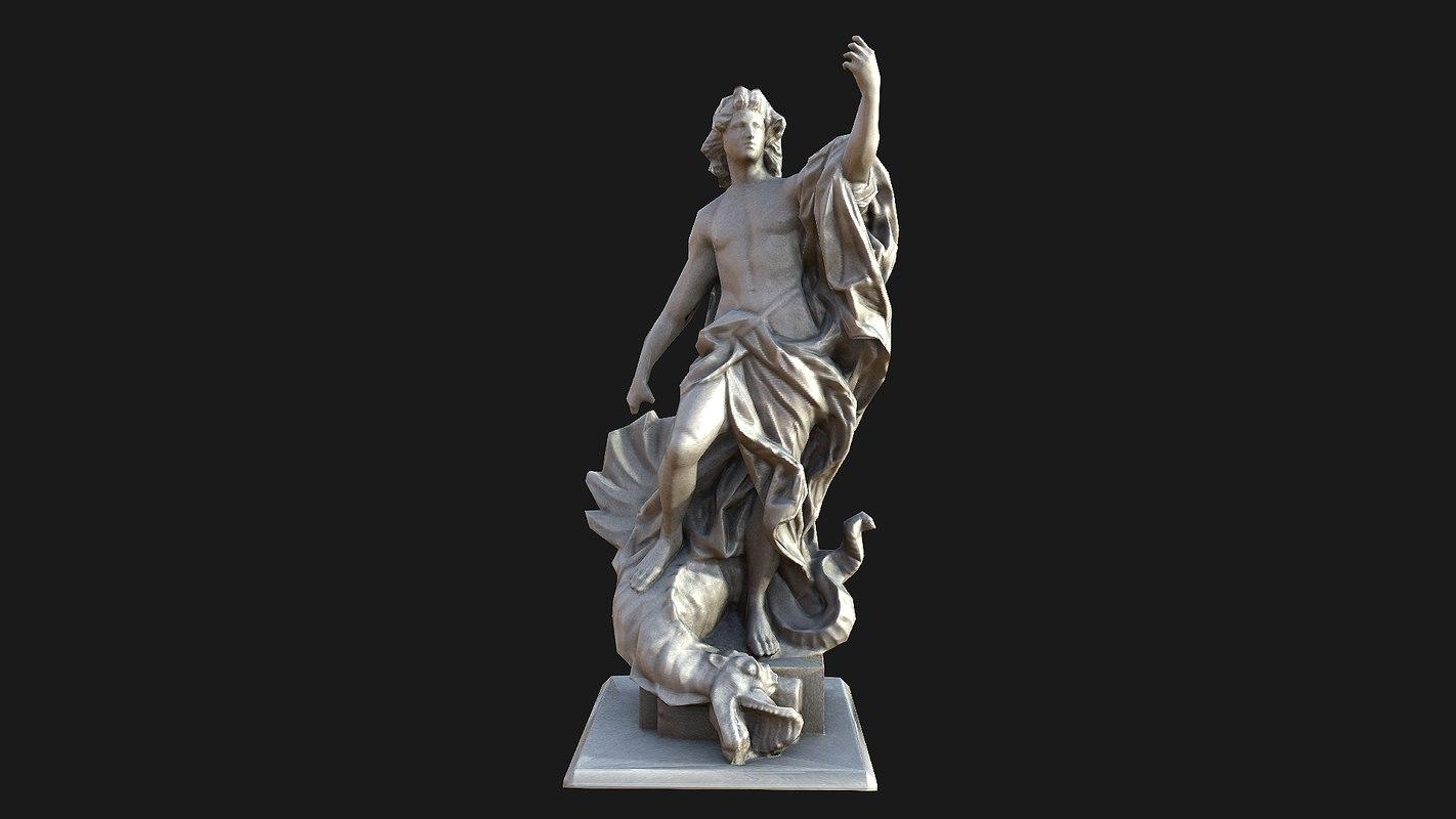 3d model apollo statue