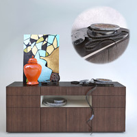 metropolis credenza sideboard wood 3d model