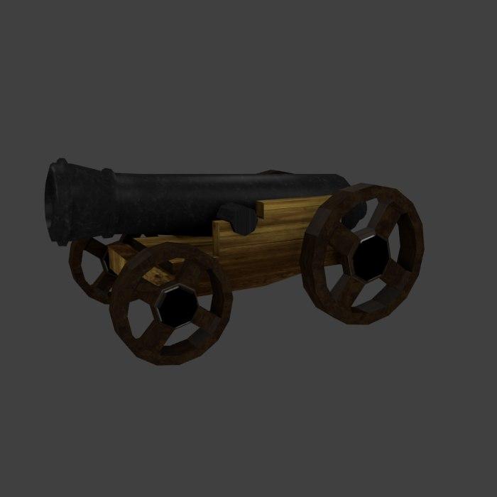3d obj medieval cannon