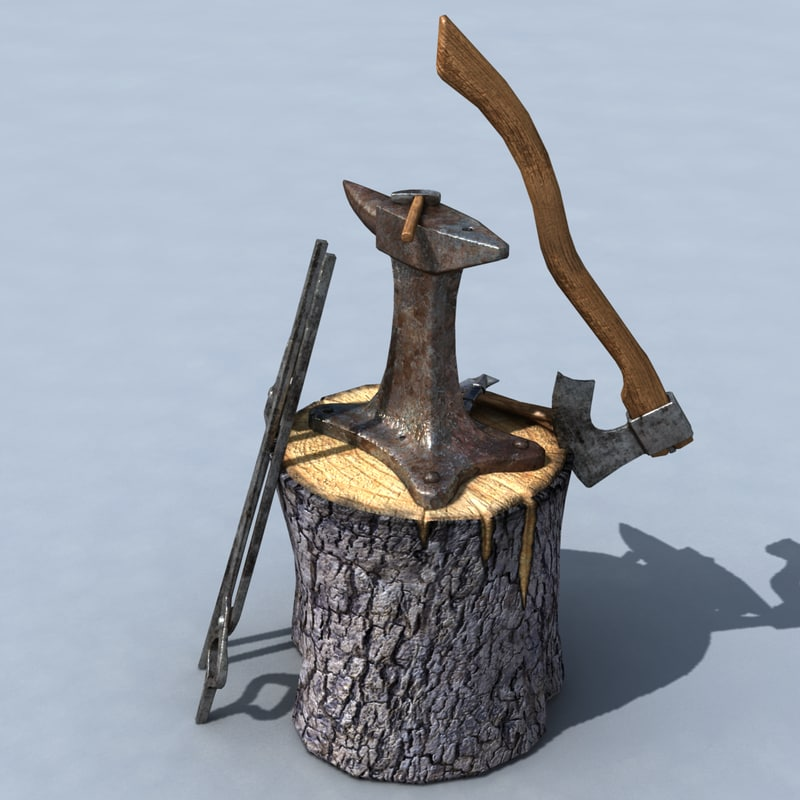 3d model blacksmith anvil set