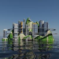 Ecopolis Island City 1 - Sci-fi Seascape Cityscape
