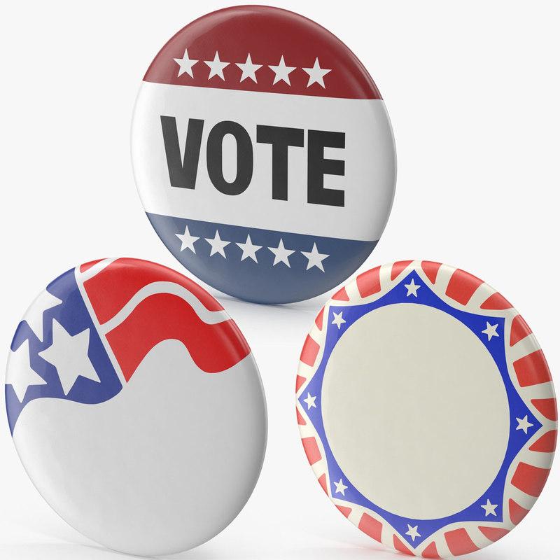 campaign button set 3d model